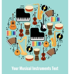 Assorted Musical Instruments Design with Text Area vector image