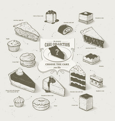 cakes collection vector image vector image