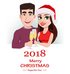 merry christmas greeting card with cute young vector image vector image