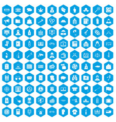 100 criminal offence icons set blue vector