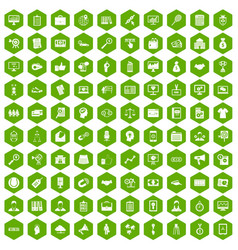 100 partnership icons hexagon green vector