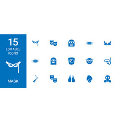 15 mask icons vector image