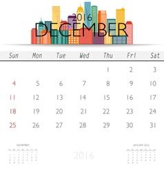 2016 calendar with Creative building design vector image