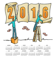 2016 Sign Men calendar vector image