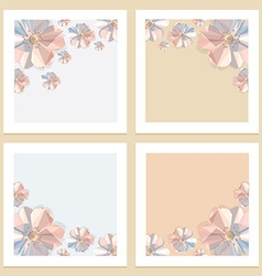 3d origami low polygon floral frames vector