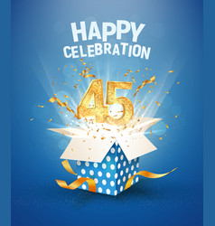 45 th years anniversary and open gift box with vector