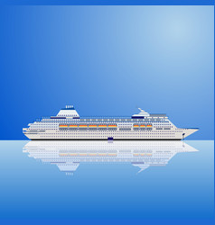 A white ocean liner on a blue vector