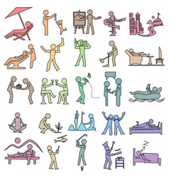 Activities icon of leisure rest hobby relax and vector