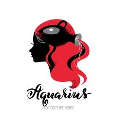 Aquarius zodiac sign Beautiful girl silhouette vector image