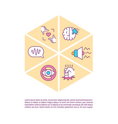 Autism concept line icons with text vector