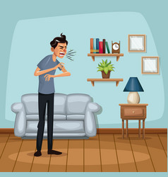 Background living room home with sneeze sickness vector