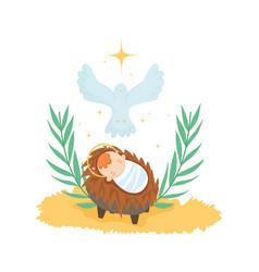Bajesus pigeon gold star manger nativity merry vector