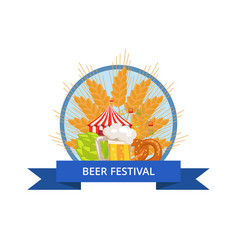 Beer festival logo in circle with ribbon vector