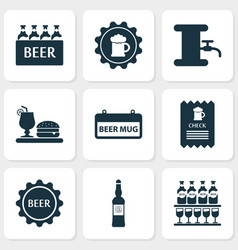 Beverages icons set with check signboard beer vector