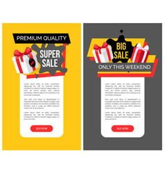 Big sale at weekend shop tags web templates vector