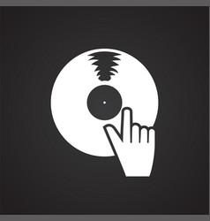 birthday vinyl disc on black background for vector image