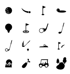 black golf icon set vector image