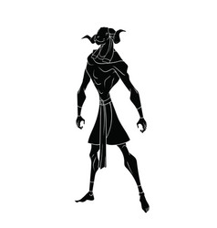Black outline drawing of the egyptian god of water vector