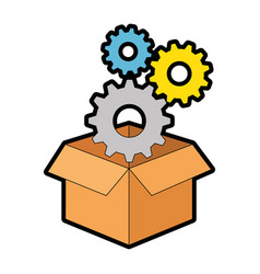 box with gears machine vector image