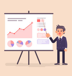 business man presenting diagram and chart vector image