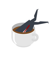 Businessman in big coffee mug boss dive coffee vector