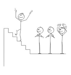cartoon businessman climbing up stairs to vector image
