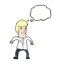 cartoon nervous businessman with thought bubble vector image