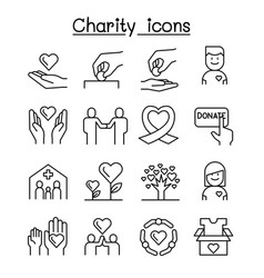 Charity volunteersympathy helping icon set in vector
