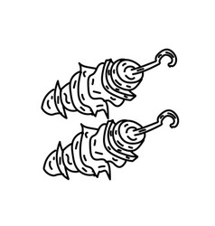 chicken kebab icon doodle hand drawn or black vector image