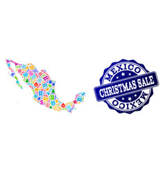 Christmas sale collage of mosaic map of mexico and vector