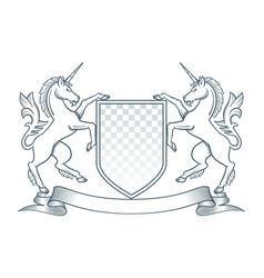 Coat arms unicorn vector