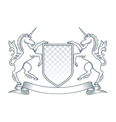 Coat of arms unicorn vector