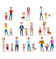 Collection parents with their school children vector