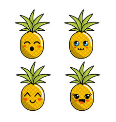 color kawaii faces pineapple icon vector image