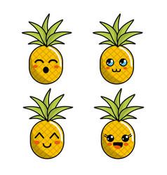 Color kawaii faces pineapple icon vector