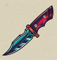 colorful sharp military knife concept vector image