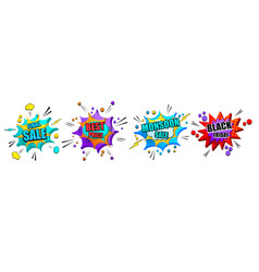 Comic explosive 3d banners set vector