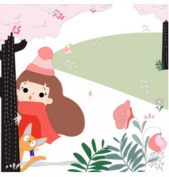cute cartoon girl and cat in the pink forest vector image