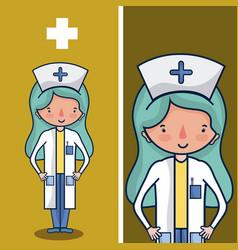 Cute nurse cartoon vector