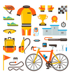 Cycling on bike bicycle accessories of vector