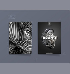 Dark abstract cover template with 3d silver vector