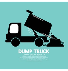 Dump truck carried and unloading loose material vector