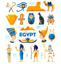 Egypt elements color set vector