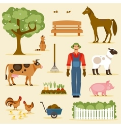Farm set vector image
