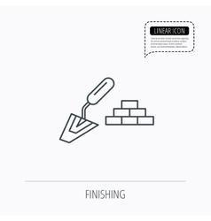 Finishing icon Spatula with bricks sign vector