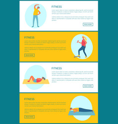 fitness exercises set athletes and bodybuilders vector image