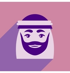Flat icon with long shadow Arab men vector