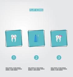Flat icons toothbrush children dentist enamel vector