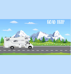 Flat web banner on the theme of road trip vector
