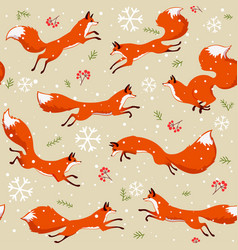 fox seamless pattern vector image